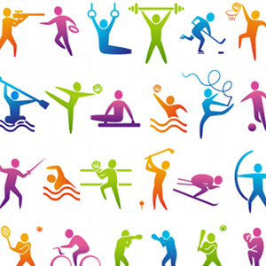 Set of sports icons: basketball, soccer, hockey, tennis, skiing, boxing, wrestling, cycling, golf, baseball, gymnastics, shooting, rugby, gymnastics, American football, power lifting, kayaking, canoeing, barbell, weightlifting, water polo, archery, fencing, swimming, volleyball, Olympics. Vector illustration